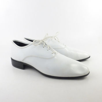 White Shoes Oxfords Patent Dress Vintage 1970s Men's 11 1/2 W