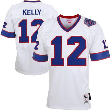 Mens Buffalo Bills Jim Kelly Mitchell & Ness White Super Bowl XXV Patch Authentic Throwback Jersey