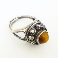 Taxco Mexico Poison Ring Sterling Silver Tigers Eye Stone Eagle 3 Vintage Jewelry