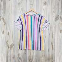 Vintage Striped Oversized T shirt