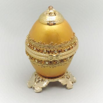Golden Jewel Box Wedding Ring Jewelry Box Gold Display Box Egg Ornament Faberge Style Decorated Egg Art