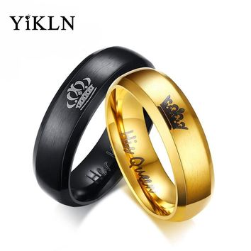 YiKLN Brand Fashion Her King & His Queen Crown Ring For Women Men Black/Gold Color Couple Wedding Rings Jewelry Anneau JCR149