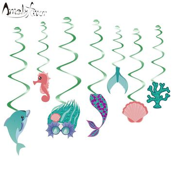 Under the Sea Ceiling Hanging Swirl Decorations Cutout Baby Shower Girl Party Supplies Mermaids DIY Decor Event Party Festive