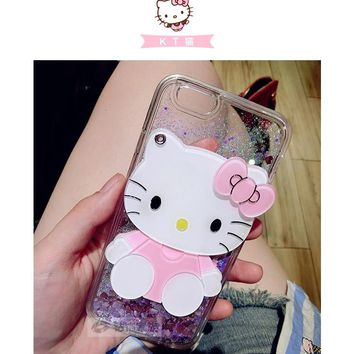 Lovely Hello Kitty Dynamic Liquid Glitter TPU Soft Silicone Cover For Samsung Galaxy S8 Plus S6 edge S7 edge Mirror Phone Case