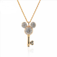 18K Gold Rhinestone Filled Mickey Mouse Key Necklace Pendant For Women Jewelry