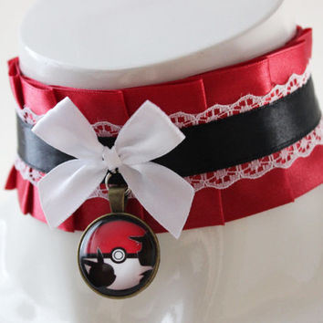 Kitten play collar - Pokeball - ddlg satin princess choker with bow and pokemon pendant - red black and white lolita kawaii cosplay necklace