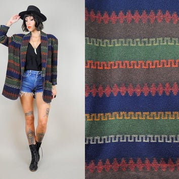 Navajo STRIPE Southwestern 80's wool Woven Indian BLANKET COAT native Ethnic Boyfriend Blazer o/s