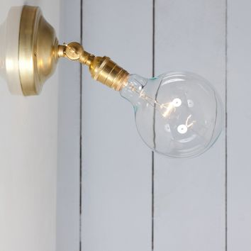 Bare Bulb Brass Wall Sconce - Angled Lamp