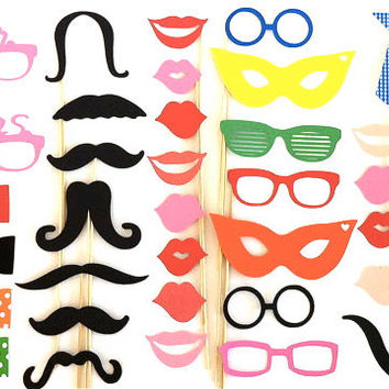XXL Photo Both Props Large Party Pack of 40 with Mr and Mrs Glasses Wedding Photo Booth Props Party Decorations Party Supplies Mustache