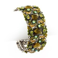Brown and Green Flower Hinged Bangle Bracelet
