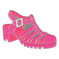 Pink Glitter Jelly Shoes Enamel Pin