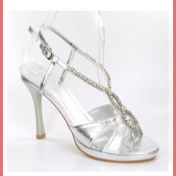 Metallic Silver Rhinestone T Strap Platform Heels-Silver Dress Sandals-Evening Shoes