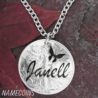 Silver Custom Name and butterfly or other symbol Handmade Necklace on Silver Half Dollar