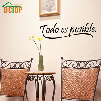 Everything Is Possible Spanish Inspiring Quotes Wall Sticker Home Decor Bedroom Kids Vinyl Wall Mural Decal