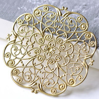 Large Raw Brass Filigree Floral Stamping Embellishments 62mm Set of 5 A8087