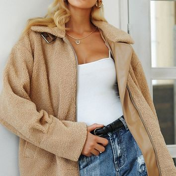 Fabulous Fall Light Brown Faux Fur Long Sleeve Zip Front PU Trim Coat Outerwear
