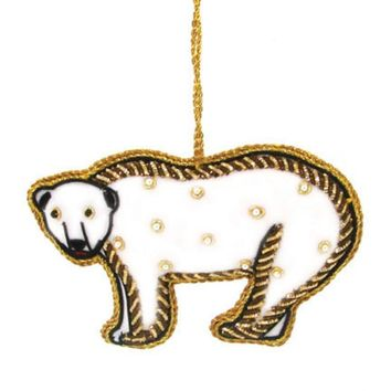 Arctic Polar Bear Embroidered Ornament