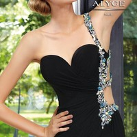 Sexy Chiffon Beaded Column One Shoulder Ankle-length Prom Dress Style 6080,Black prom dress
