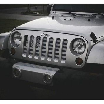American Flag (Greyscale) / Jeep Grill