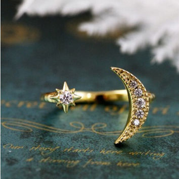Jeweled Moon & Star Adjustable Ring