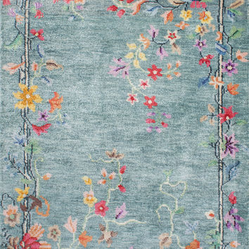NuLoom Hand Knotted Helen Chinese Art Deco Blue