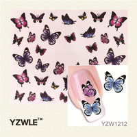 YZWLE Fashion Cute DIY Watermark Butterflies Tip Nail Art Nail Sticker & Decal Manicure Nail Tools