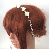Bridal Hairband, Ivory Crochet Flowers, Crystal Beads and Pearls, Wedding Headband, Bridesmaid Headpiece, Beadwork, ReddApple Hair Accessory
