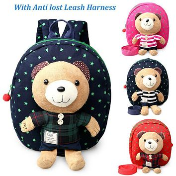 New 3D Cartoon Bear Bag Baby Toddler Anti lost Leash Harness Strap Walker Kids Lunch Box child Kindergarten Schoolbag Backpack