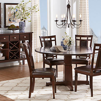 Riverdale Cherry 5 Pc Round Dining Room - Dining Room Sets Dark Wood