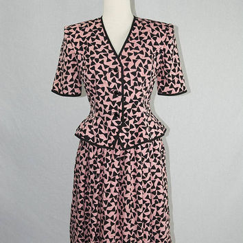 Vintage 1980s Silk Peplum Blouse and Skirt Set by Capriccio Pink and Black Novelty Bow Print Dress Suit