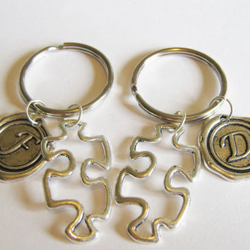 2 Puzzle Piece Wax Seal Initial  Best Friends Keychains BFF