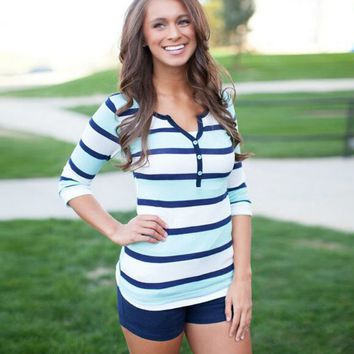 Stripe V-Neck Sleeve Shirt