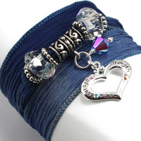 """Silk Wrap Recovery AA 12-Step Bracelet-Denim Blue with Heart Charm Inscribed with """"Strength,Courage, Wisdom."""""""