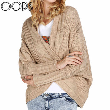 OOPS Multi-colors Irregular Twist Batwing Midi Cardigans Women Autumn Loose Coarse Lines Long Sleeve Sweaters B1607198
