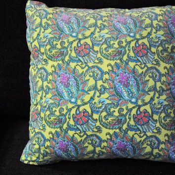 Floral Blossom Corduroy Dancing Paisley Lemon Yellow Pillow - 18x18 Cushion Cover