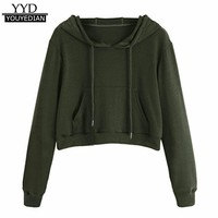 harajuku Cropped Hoodies Women 2017 New O-Neck Pocket Hoodie Jumper Long Sleeve Sweatshirt Pullover Tops Moletom Feminino #1113