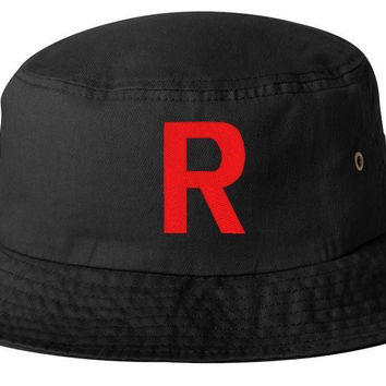 TEAM ROCKET EMBROIDERED BUCKET HAT