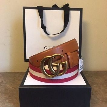 Gucci Men's Red/Tan/Red Nylon Web Belt With Double G Buckle 105 Size 38-40