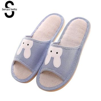 Senza Fretta Men Shoes Cute Bunny Linen Couple Slippers Men Autumn Non-slip Home Men Sippers Indoor Linen Home Slipper Big Size