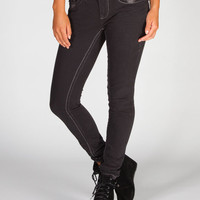 Freestyle Revolution Contrast Stitch Womens Skinny Jeans Black  In Sizes
