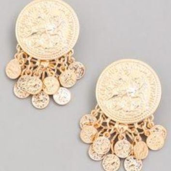 Metálico Coin Duster Earrings