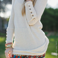 Button Cuff Confetti Thermal Top - Oatmeal - Three Bird Nest   Women's Boho Clothing & Indie Accessories