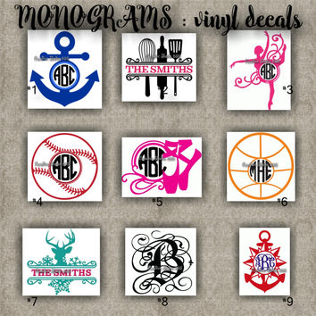 MONOGRAM vinyl decals | name | initial | decal | sticker | car decals | car stickers | laptop sticker - 1-9