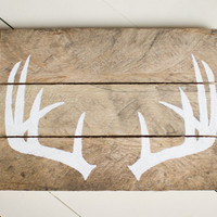 Antler Wood Sign, Pallet Sign, Reclaimed Wood