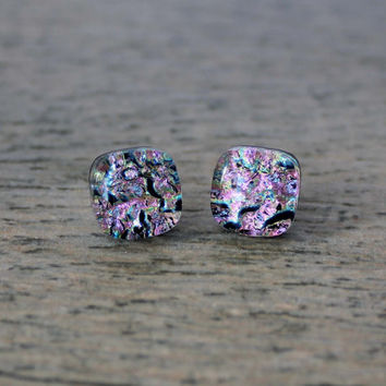 Sterling Silver Pale Pink Fused Dichroic Glass Stud Earrings, Dichroic studs, Fused Glass Studs, Pink Studs, Dichroic Earrings,