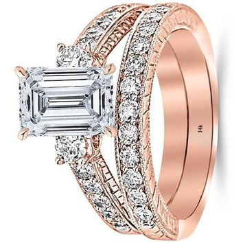 .3.03 Ctw 14K White Gold GIA Certified Emerald Cut Three Stone Vintage with Milgrain & Filigree Bridal Set with Wedding Band & Diamond Engagement Ring, 2 Ct G-H VS1-VS2 Center