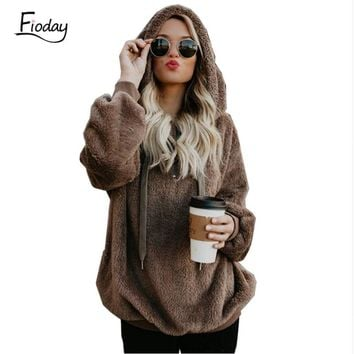 Fioday New Autumn Fuzzy Hoodie 2018 Winter Black Warm Hoodies Coat Women Fashion Open Stitch Long Sleeve Jacket for Female