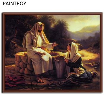 New Wall Art Framed Pictures Painting By Numbers DIY Oil Painting On Canvas Church Decor Of Figure Painting Of Jesus G025