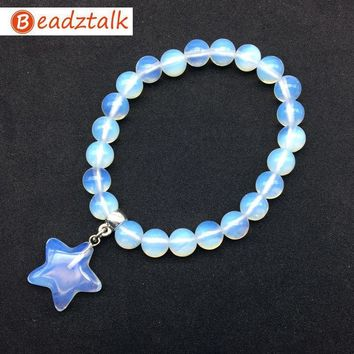 11 Colors Natural Stone Beads Bracelets Pink Crystal Gold Sand Beads Opal Stone Star Charm Bangle Jewelry