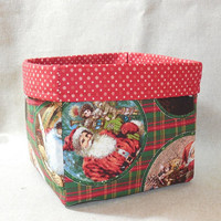 Charming Vintage Looking Santa Fabric Basket